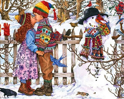 Paint By Numbers Kit-Love Snowman_2