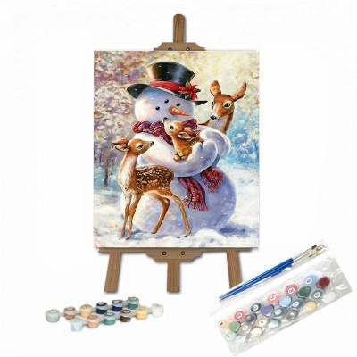 Paint By Numbers Kit-Snowman and Three Fawns-01