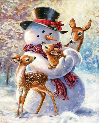 Paint By Numbers Kit-Snowman and Three Fawns-01_2