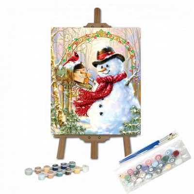 Paint By Numbers Kit-Snowman,Bird_1