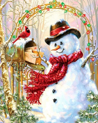 Paint By Numbers Kit-Snowman,Bird_2