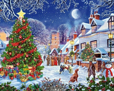 Paint By Numbers Kit - Christmas in the Town_2