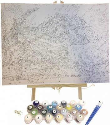 Paint By Numbers Kit - Snowy Cabin in the Woods_5