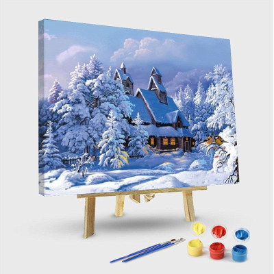 Paint By Numbers Kit - Snowy Cabin in the Woods