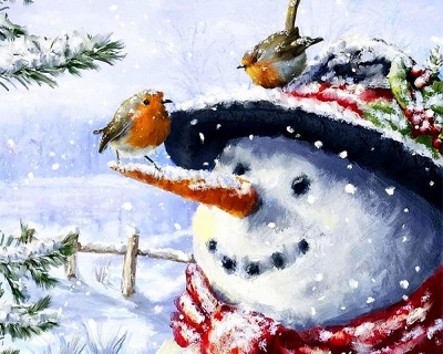 Christmas Snowman Bird Snow Scene-Paint by Numbers Kit_2