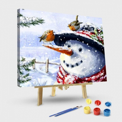 Christmas Snowman Bird Snow Scene-Paint by Numbers Kit