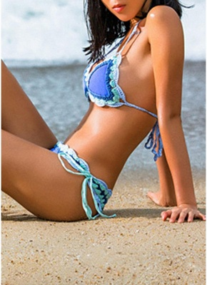 Sale pink l Women Strappy Bikini Set Backless Print Summer Beach Bathing Suit Swimwear from Chicloth. Best affordable Bikinis online store, cheap discounts are waiting for you._4