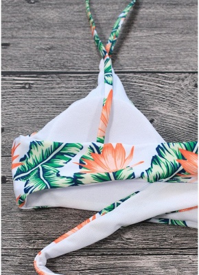 Sexy Women Bikini Set Leaves Print Padded Top Bottom Bandage Beach Swimwear Swimsuit Bathing Suit_5