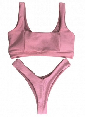 High Cut Solid Bikini Set Bathing Swimwear_3