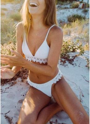 Women Triangle Sexy Bikini Set Crochet Trim_1
