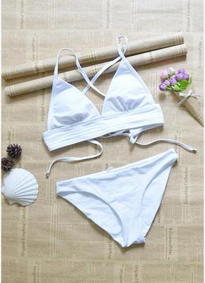 Sexy Women Strappy Bikini Set Deep V-Neck Tie Back Low Waist Swimwear Swimsuit Beach Bathing Suit White_5