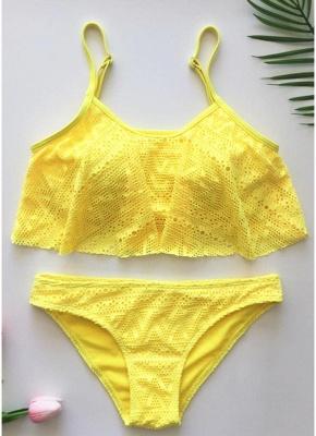 Women Ruffled Bikini Set Hollow Out Adjustable Strap Padding Low Waist_7