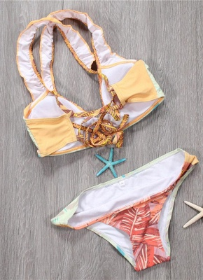 Sexy Women Bikini Set Spaghetti Strap Contrast Color Bandage Cross Lacing Padded Wireless Swimsuits Yellow_3