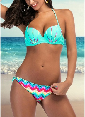 Women Bikini Set Colorful Print Underwire Top Bottom Swimwear Swimsuit Bathing Suit