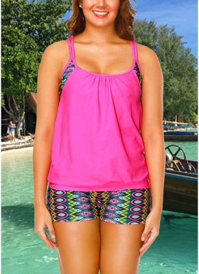 Geometric Print Sleeveless Backless Padded Wireless Swimsuit