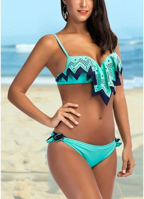 Women Bikini Two Piece Set Ruffle Overlay Self Tie Padded Push Up Swimsuit
