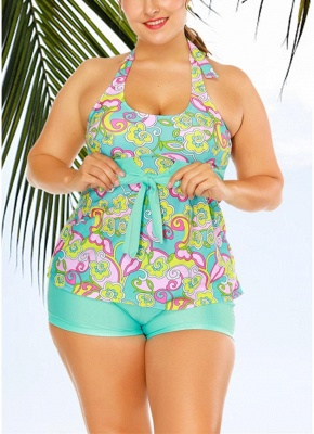 Floral Halter Tankini Top Shorts Set Bathing