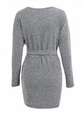 Winter Women Knit Cross Belted O-Neck Long Sleeve Knitted Mini Sweater Dress_4