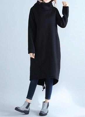 Fashion Women Casual Loose Turtleneck Solid Color Fleece Sweater Dress_3