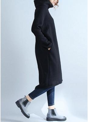 Fashion Women Casual Loose Turtleneck Solid Color Fleece Sweater Dress_4