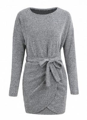 Winter Women Knit Cross Belted O-Neck Long Sleeve Knitted Mini Sweater Dress_5