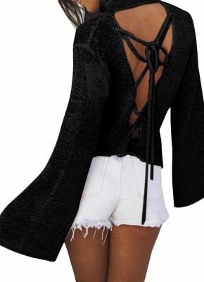 Long Horn Sleeve Turtleneck Blouse Backless Criss Cross Bandage Pullover Sweater_5