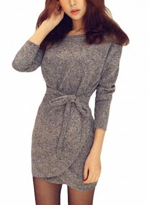Winter Women Knit Cross Belted O-Neck Long Sleeve Knitted Mini Sweater Dress_2
