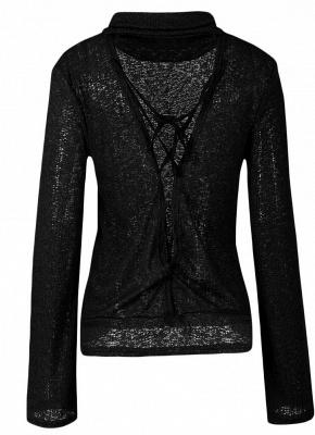 Long Horn Sleeve Turtleneck Blouse Backless Criss Cross Bandage Pullover Sweater_6