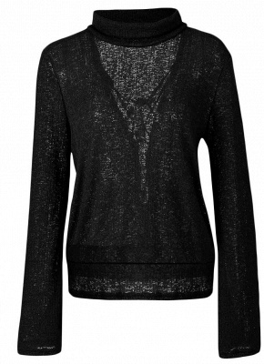 Long Horn Sleeve Turtleneck Blouse Backless Criss Cross Bandage Pullover Sweater_7