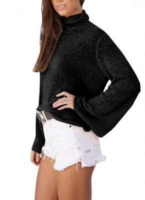 Long Horn Sleeve Turtleneck Blouse Backless Criss Cross Bandage Pullover Sweater_4