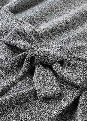 Winter Women Knit Cross Belted O-Neck Long Sleeve Knitted Mini Sweater Dress_7