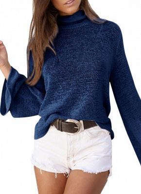 Long Horn Sleeve Turtleneck Blouse Backless Criss Cross Bandage Pullover Sweater_1