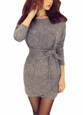 Winter Women Knit Cross Belted O-Neck Long Sleeve Knitted Mini Sweater Dress_1