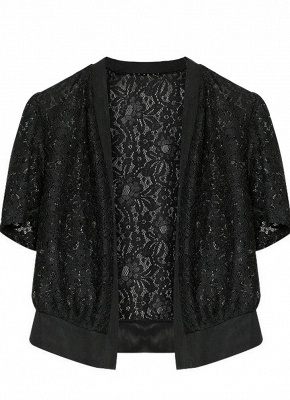 Women Lace Cardigan Open Front Casual Office Beach Top Short Outerwear_6