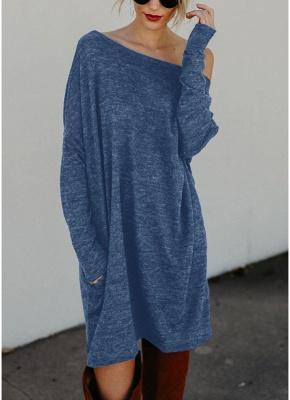 Women Loose Knit Sweater Dress Long Sleeves Pockets Party Mini Straight Dress_4