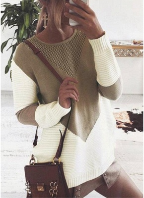 Contrast Color Round Neck Hollow Out Women Casual Knitted Sweater_1