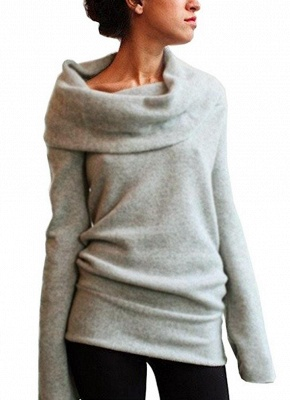 Women Off the Shoulder Sweater Wool Cowl Neck Long Sleeve Knitted Pullover_5