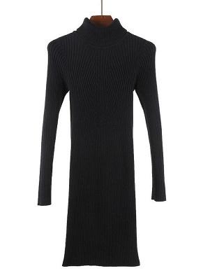 Winter Slim Turtleneck Bodycon Women's Sweater Dress_7