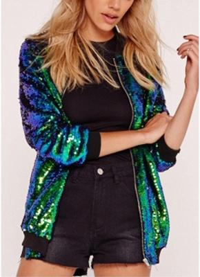 Fashion Women Sequins Coat Bomber Jacket Long Sleeve Zipper Streetwear Casual Loose Glitter Outerwear_1