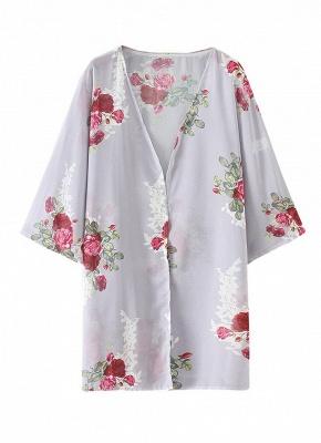 Women Floral Print Cardigan Open Front Maxi Coat Summer Boho Long Wear_2