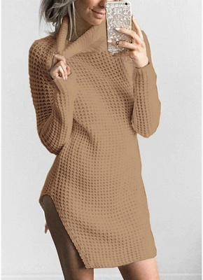 Women Casual Winter Solid Knitted Sweater Dress_3