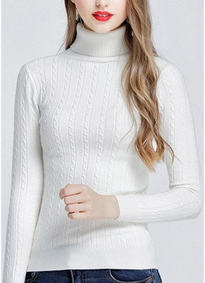 Fashion Women Twisted Turtleneck Long Sleeve Knitted Sweater_1