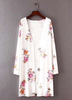 Fashion Long Cardigan Front Floral Print Long Sleeves Women's Outerwear_1