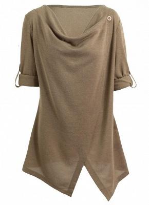 Knitwear Solid Color Asymmetric Long Roll Up Sleeve Women's Sweatershit_7