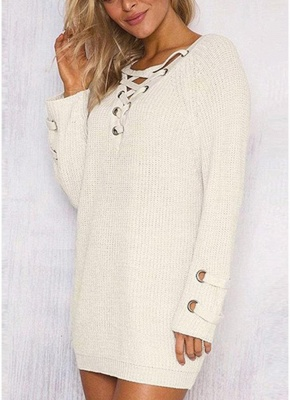 Neck Striped Bandage Cross Ties Knitted Sweater_1