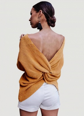 Women Loose Knitted Pullovers V Neck Back Bow Long Sleeves Dropped Shoulder Cross Casual Knit Jumper Top_4