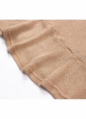Shoulder Elegant Ruffle Sash Long Sleeve Women's Sweater Dress_11