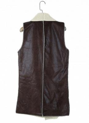 Suede Faux Fur Lapel Fleece Long Waistcoat_4