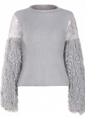 Knitted Lace Fluffy Faux Fur O-Neck Long Sleeve Sweater_4