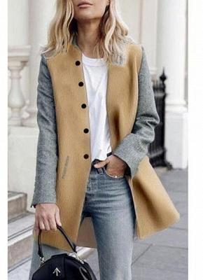 Women Winter Color Splice Long Sleeves Side Pockets Buttons Outerwear Coat_4